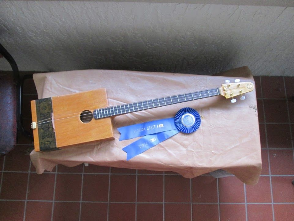 hand crafted award winning acoustic cigar box guitar by g s monroe folk music. Black Bedroom Furniture Sets. Home Design Ideas