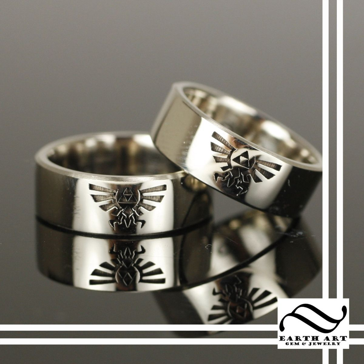 Hand Crafted Crest Of Hyrule Wedding Bands By Earth Art