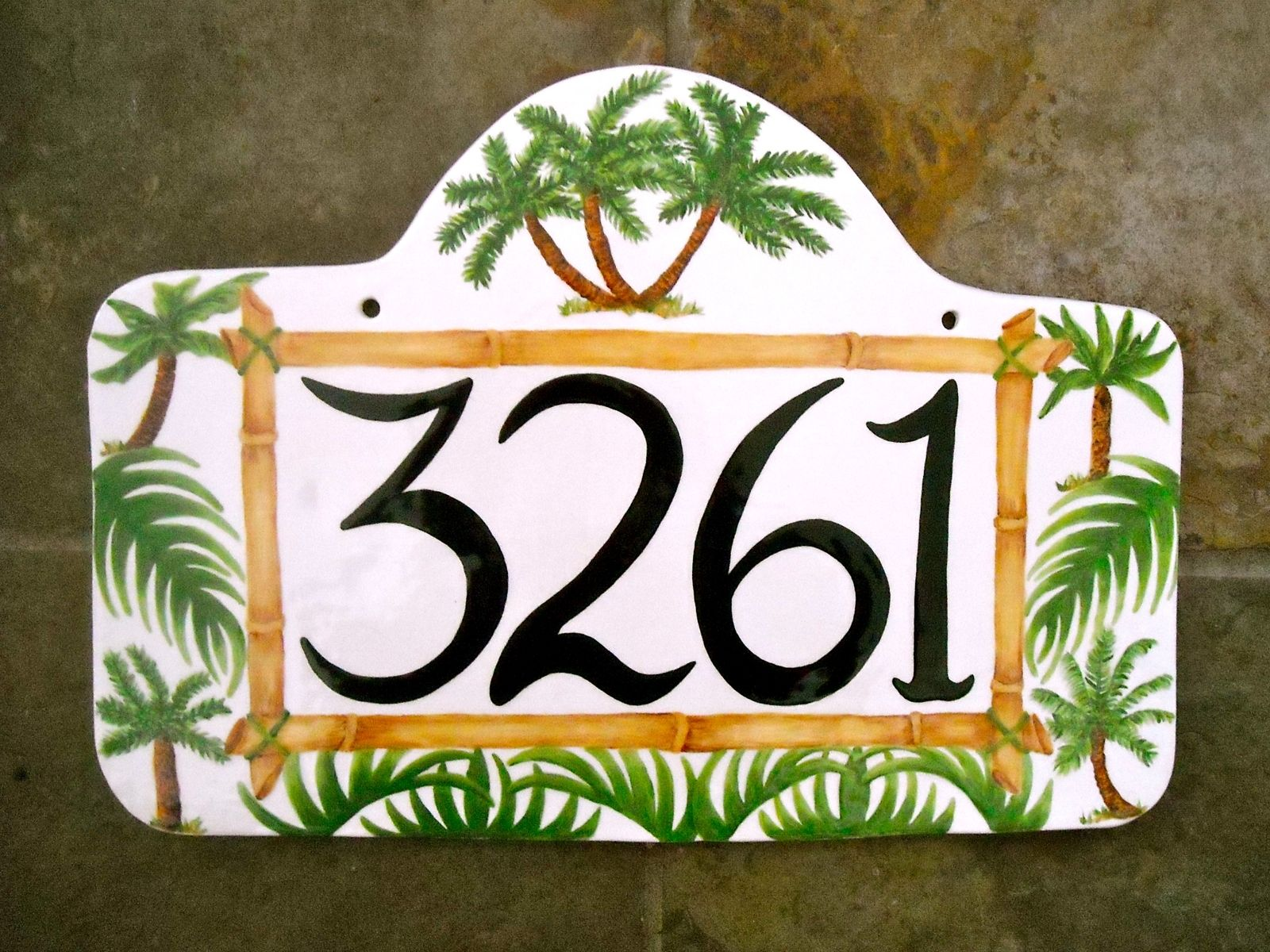 Custom Ceramic Pottery Personalized House Numbers Sign