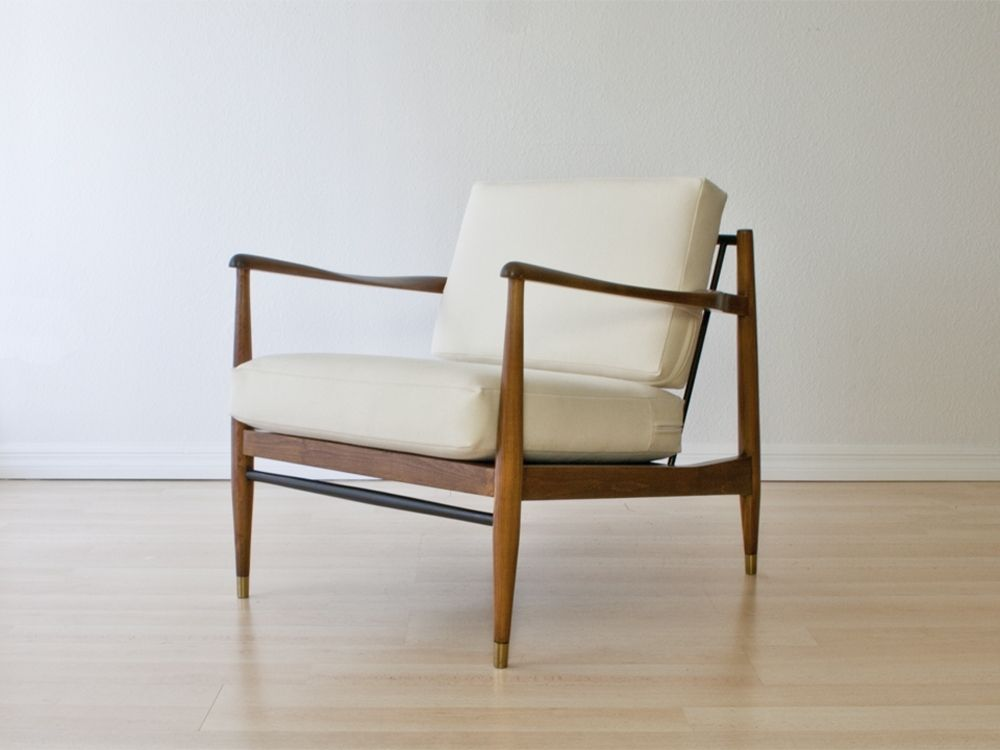 Refurbished Danish Lounge Chair In White Wool Upholstery