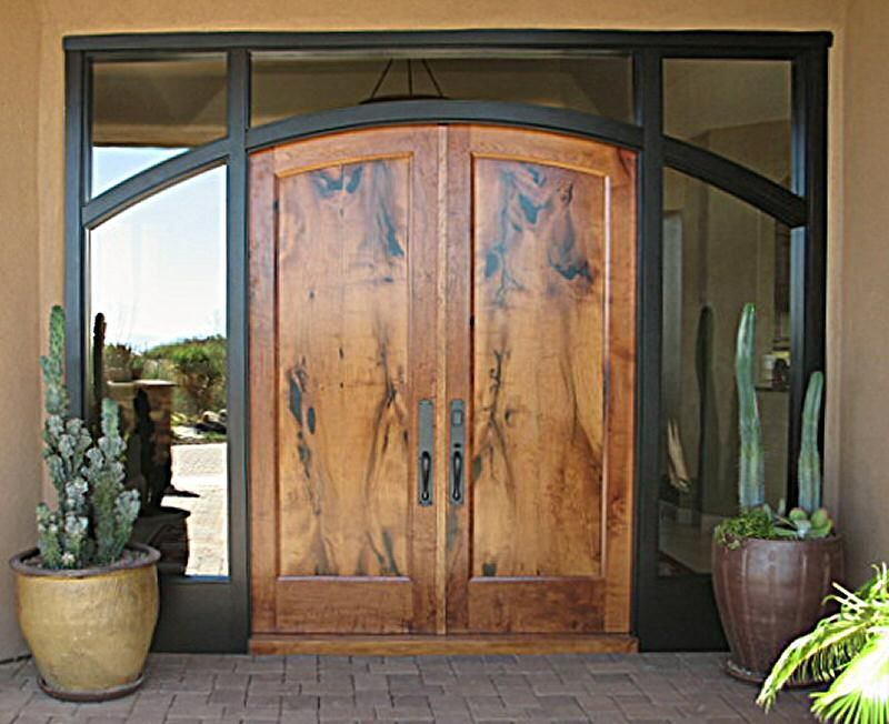 Handmade Arched Mesquite Entry Doors In Ebonized Mahogany