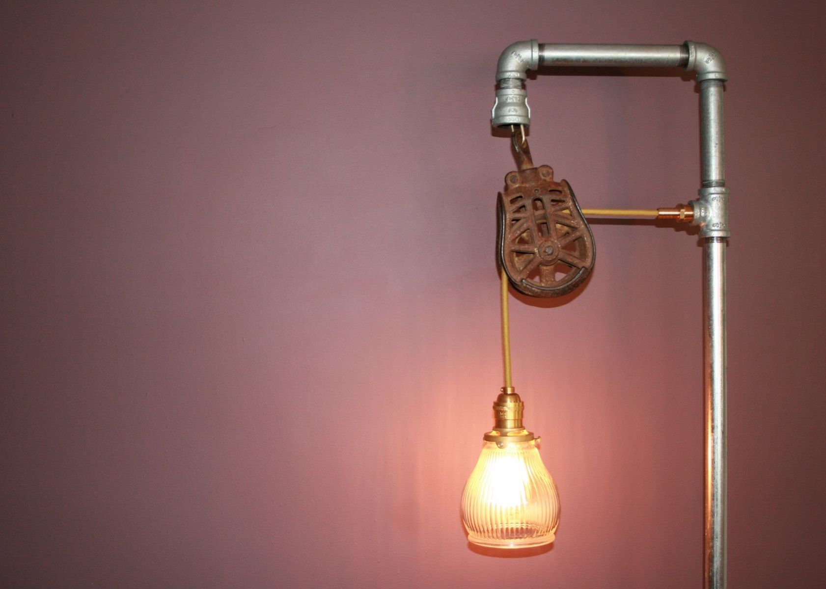 Custom Made Floor Lamp With Vintage Pulley By Tungsten