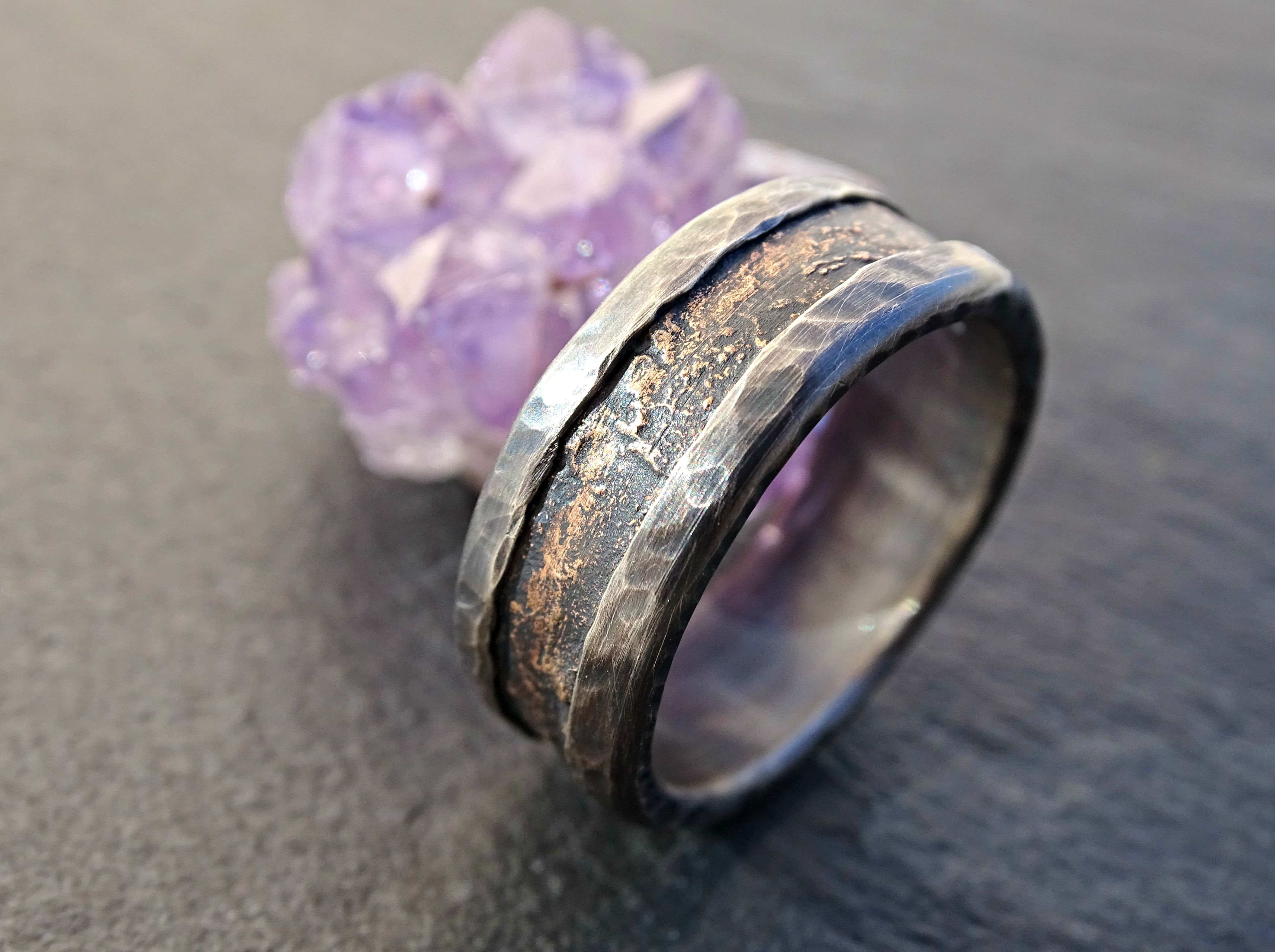 buy a crafted unique bronze silver ring cool mens