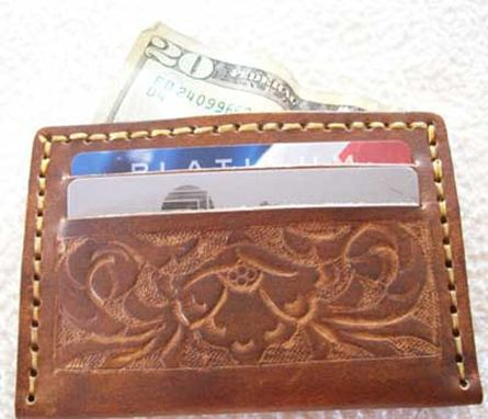 Custom Made Custom Leather Credit Card Wallet With Sheridan Design In Weathered Color