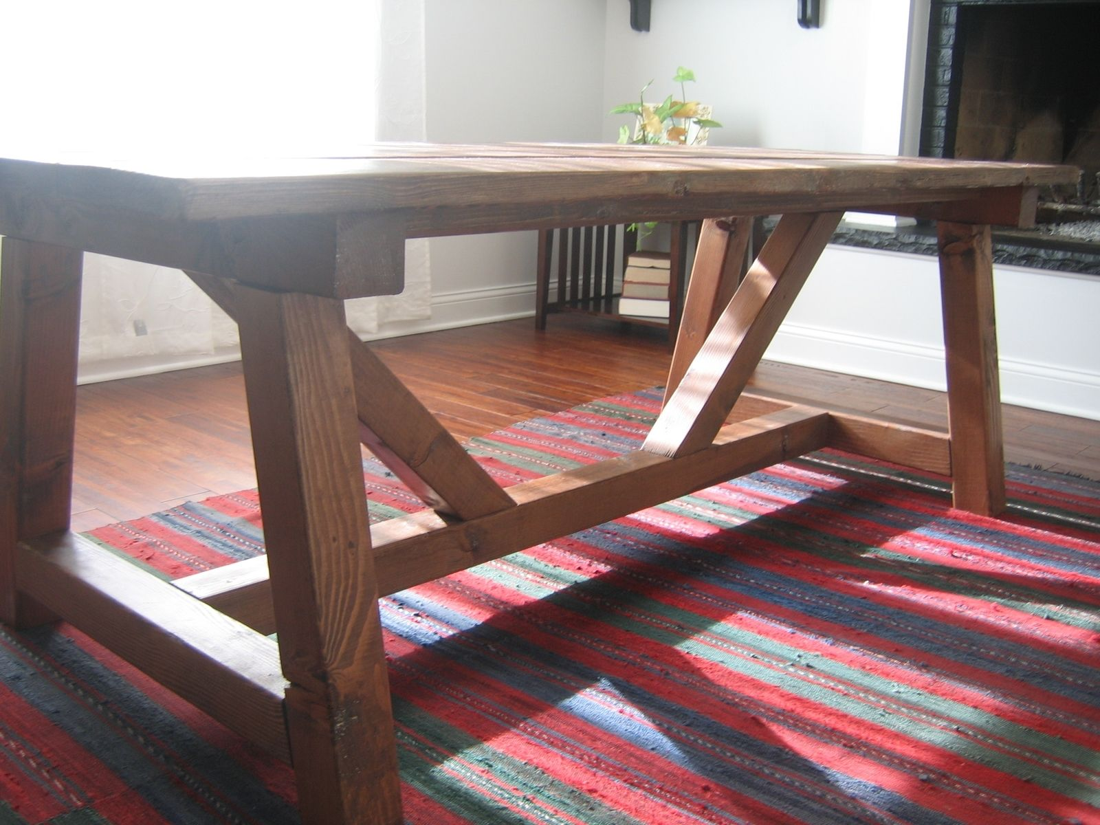 Hand Made Trestle Farmhouse Table Reclaimed Wood Dining Rustic Table