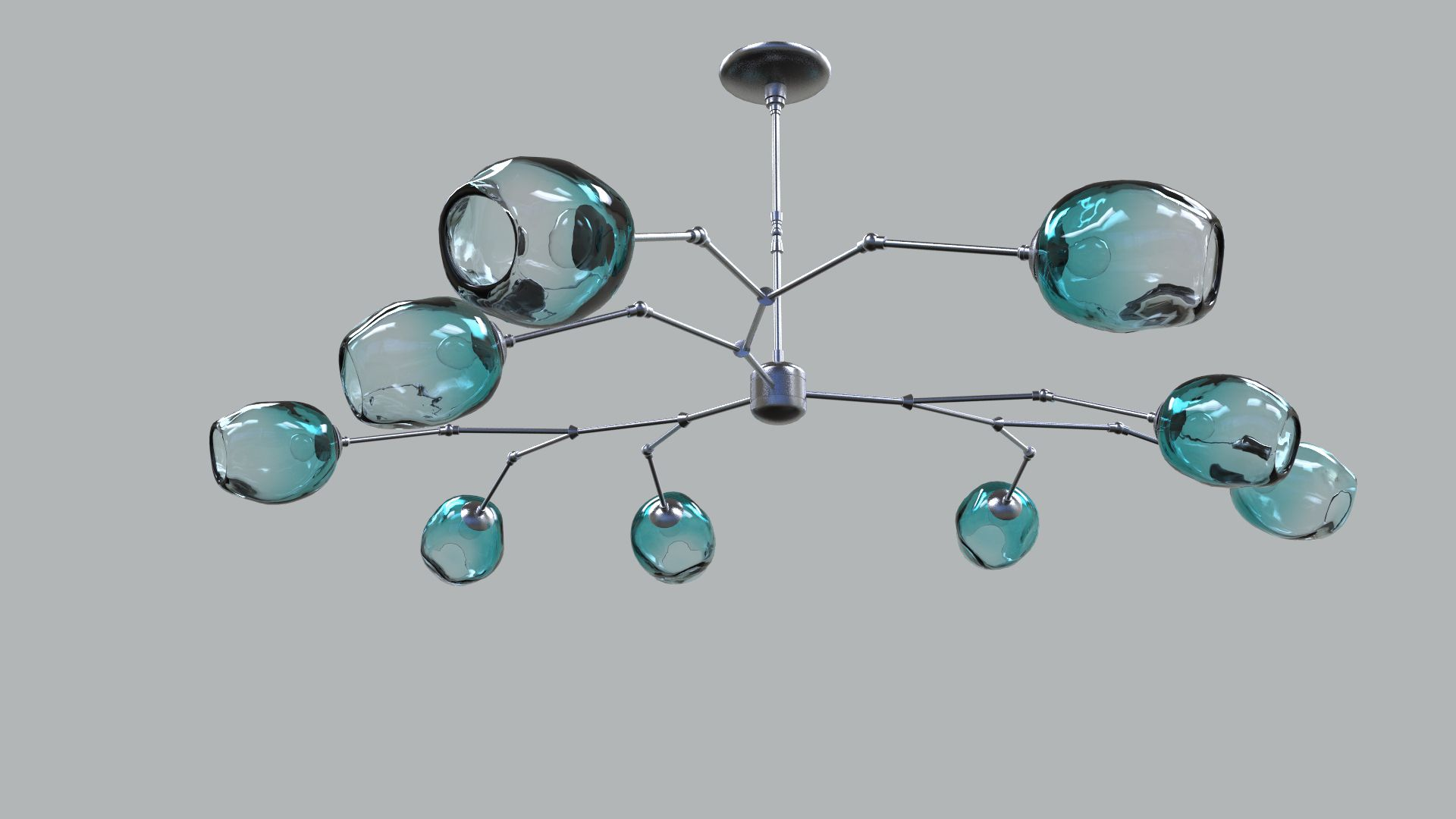 "36"""" Staccato Chandelier In Teal With Nickel Hardware"