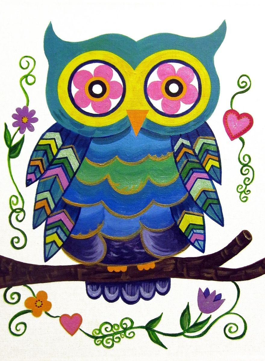 hand made owl cute wall art for kids room nursery painting not a print by modern kids art. Black Bedroom Furniture Sets. Home Design Ideas
