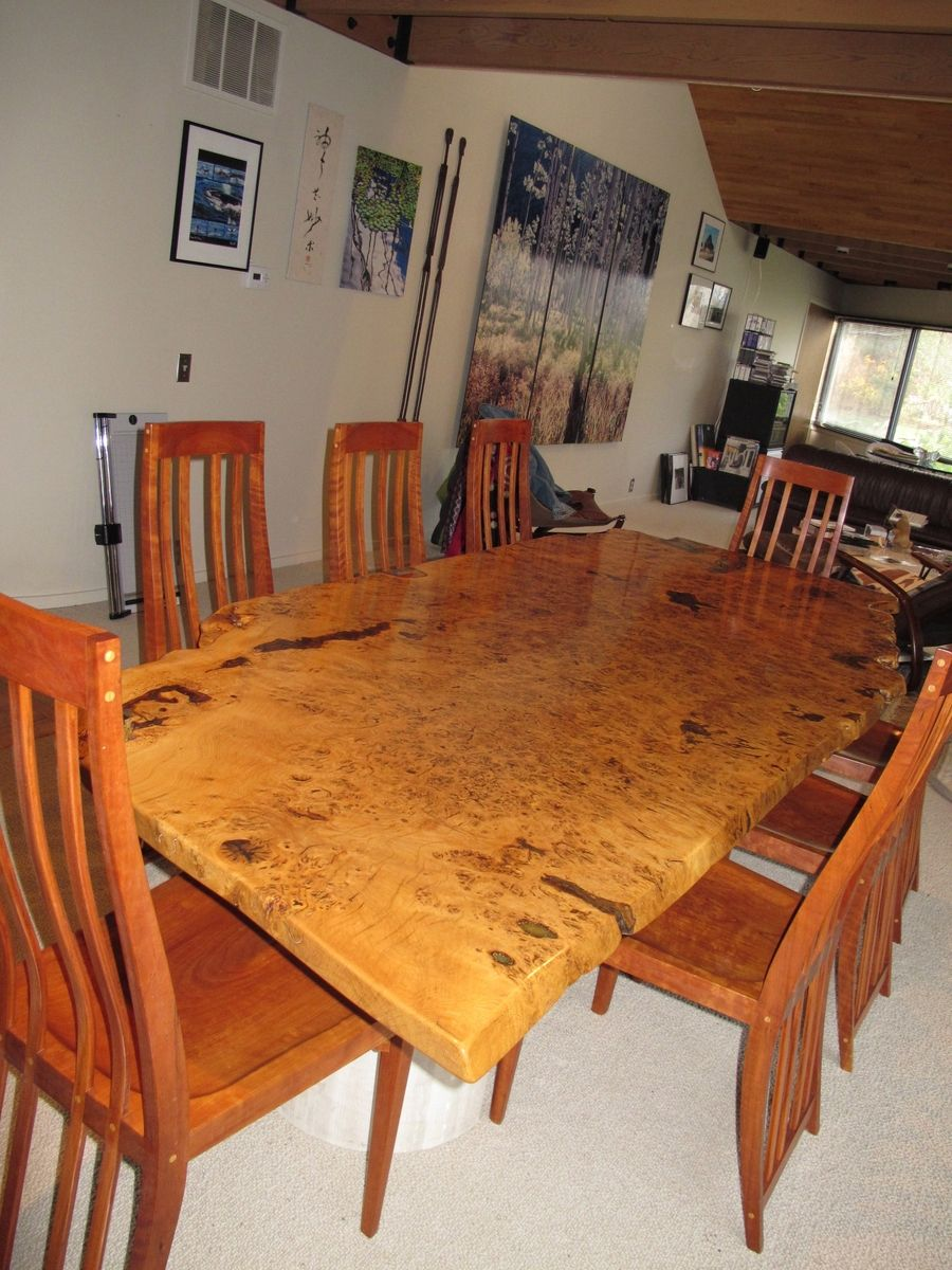 handmade english white oak burl dining table by david naso designs. Black Bedroom Furniture Sets. Home Design Ideas