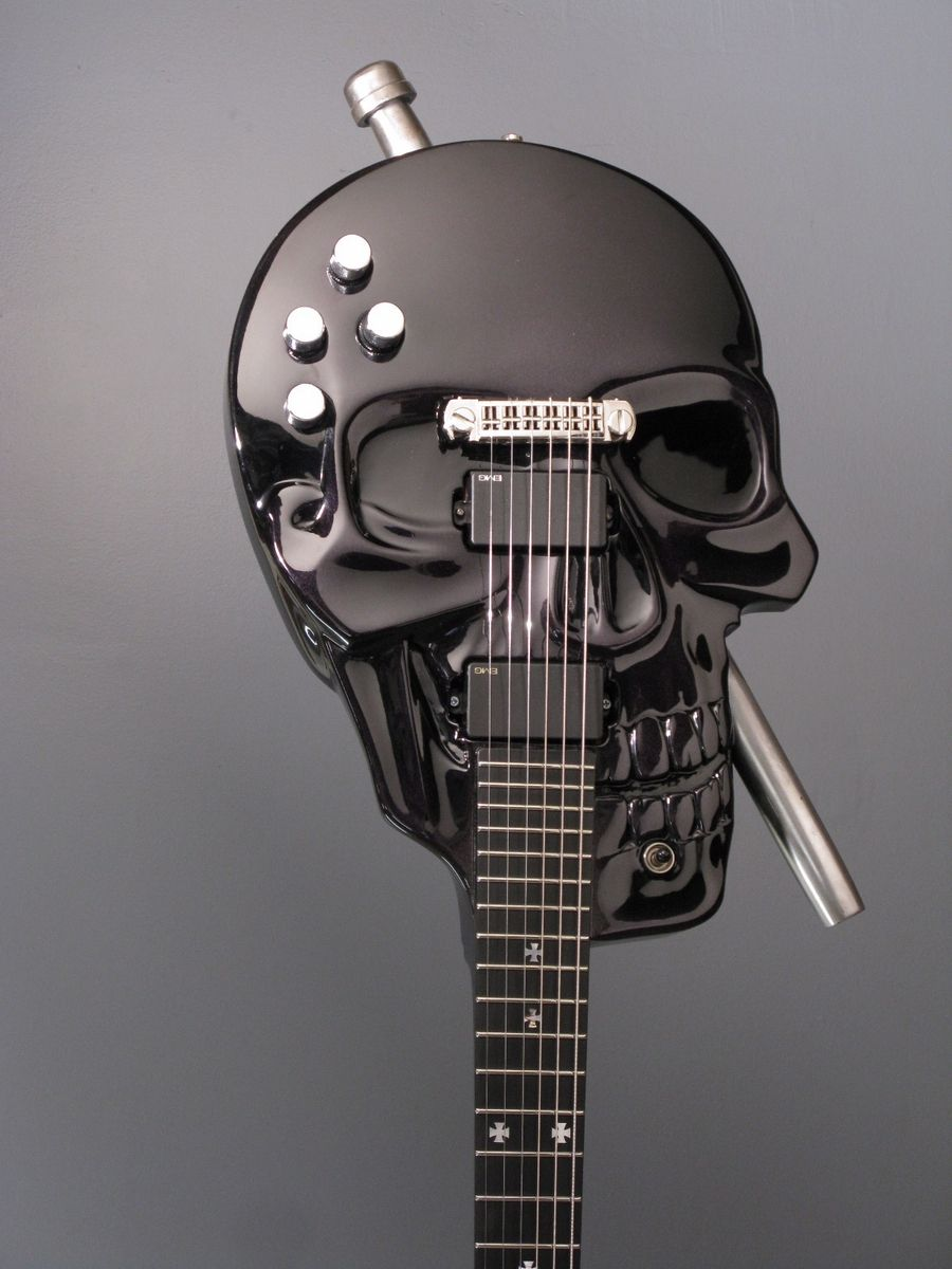 custom made skull baritone electric guitar by andrews guitars. Black Bedroom Furniture Sets. Home Design Ideas