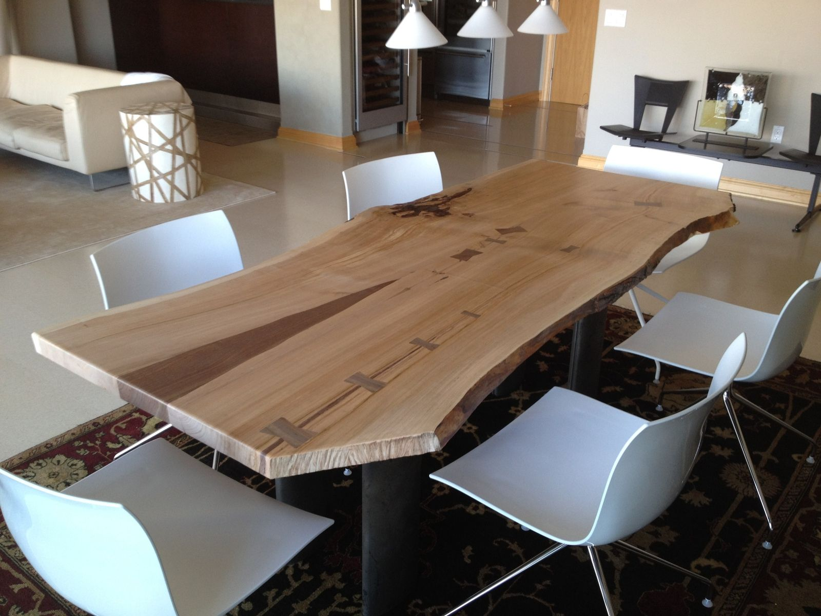 Hand Crafted Living Edge Cherry Dining Table By Opas