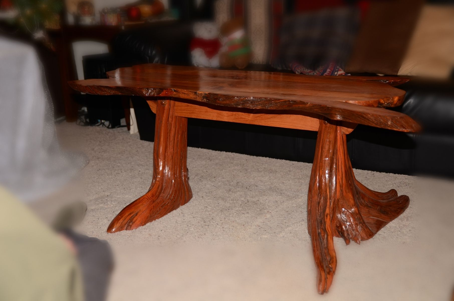Hand Made Pine Stump And Alder Coffee Table By Duane Fink