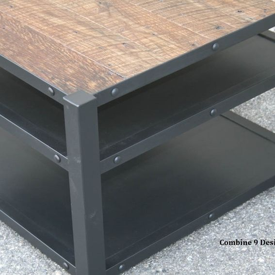 Industrial Unique Metal Designer Coffee Table: Custom Vintage Industrial Coffee Table. Steel And