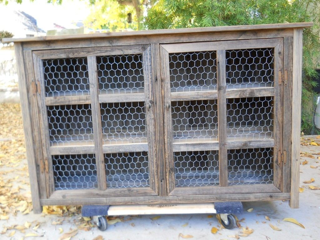 Hand Made Large Barnwood Pie Cabinet With Chicken Wire By