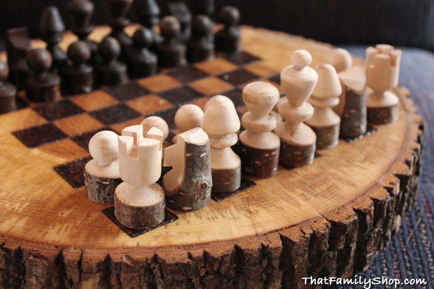Custom Made Rustic Wood Log Chess Set By That Family Shop