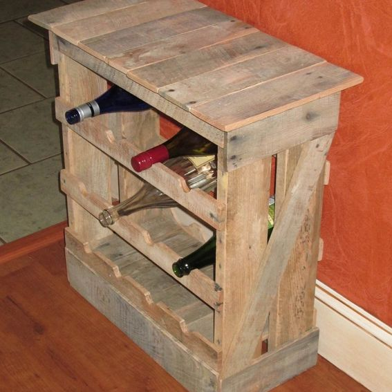Hand Made Pallet Wood 12 Bottle Wine Rack Floor Or Counter
