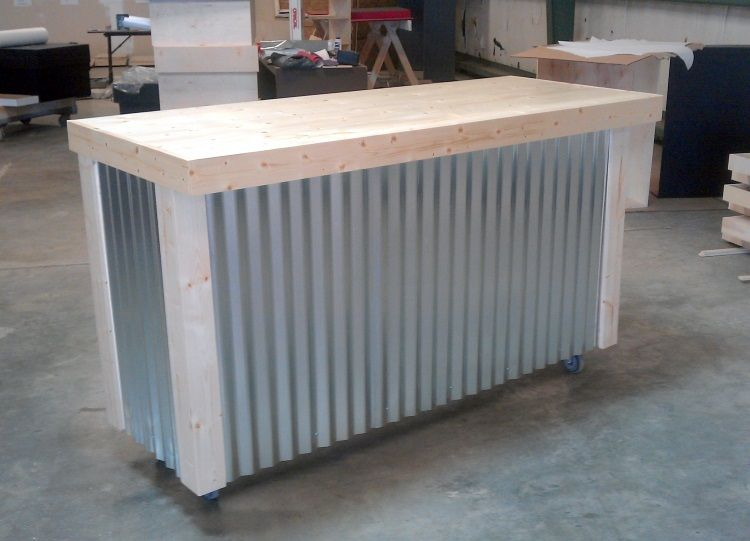 Handmade Corrugated Metal Bar By Ambassador Woodcrafts