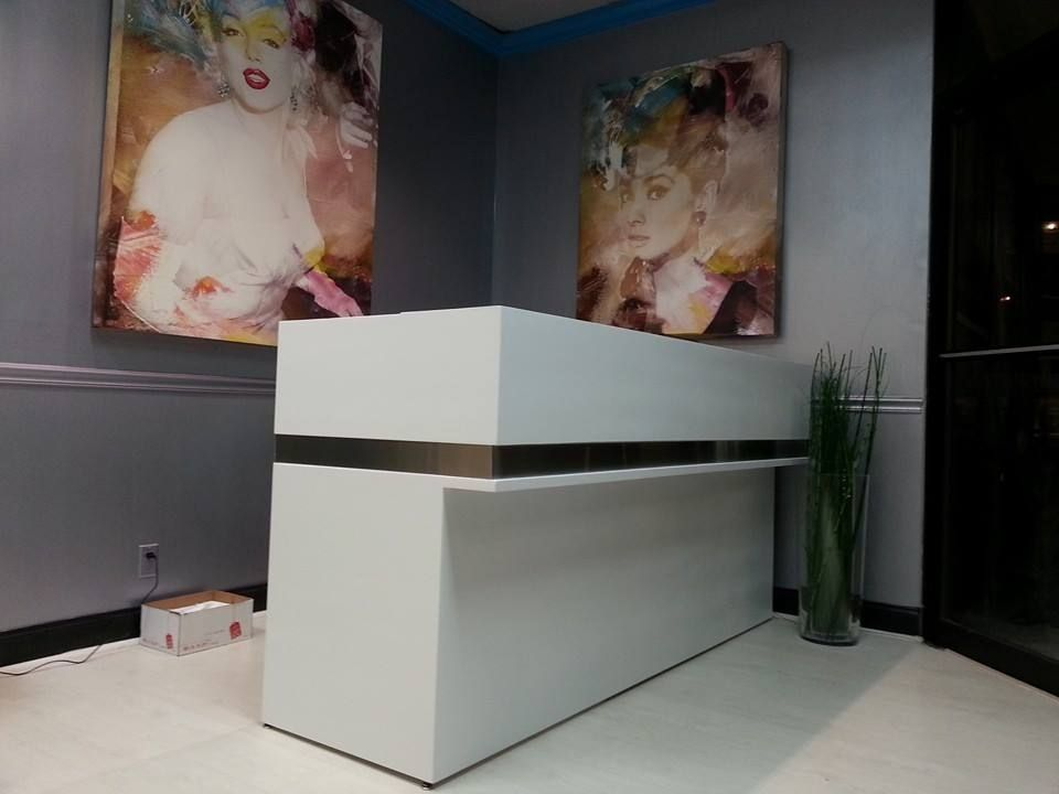 handmade salon reception desk by flint alley furniture custommade