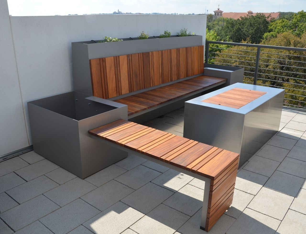 Handmade outdoor seating area and custom fire pit by for Terrace seating ideas