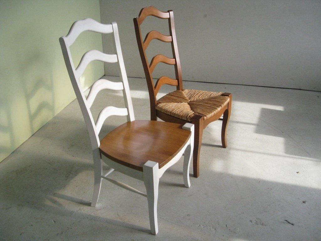 Hand made white french ladder back dining room chairs by ecustomfinishes reclaimed wood - Ladder back dining room chairs ...