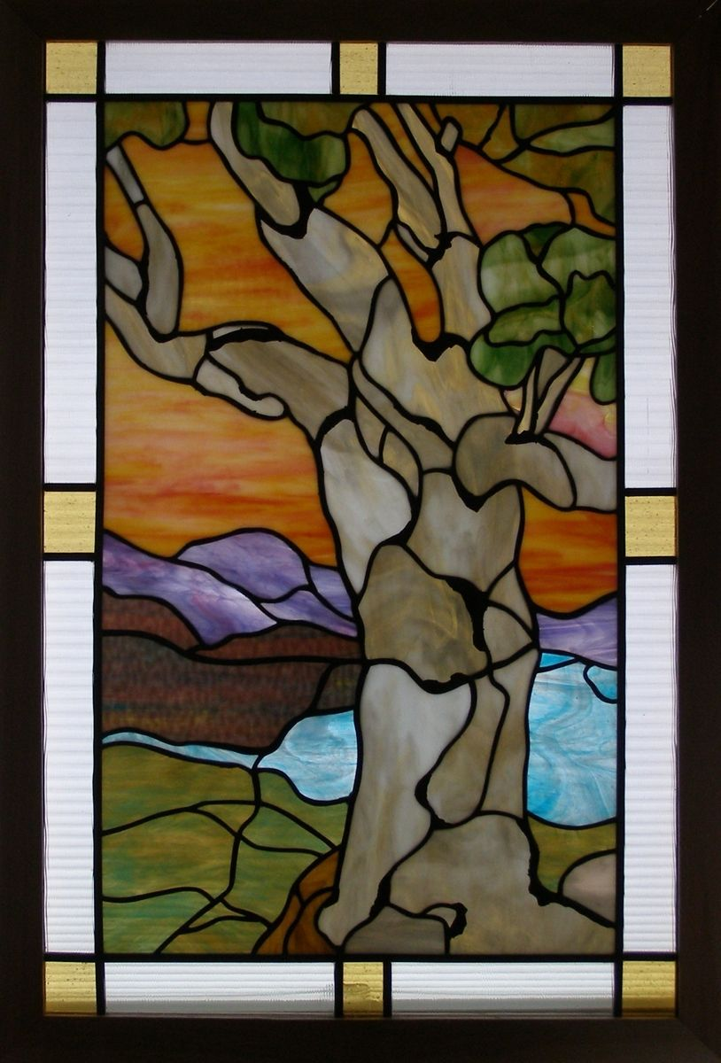 Hand crafted stained glass window arts and crafts tree for Arts and crafts glass