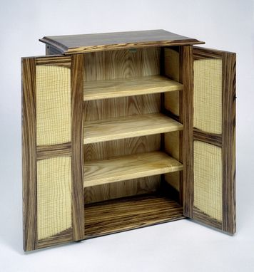 Custom Made Media Cabinet Of Zebra Wood, Curly Ash And Ebony Hand Carved Pulls