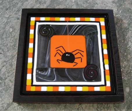 Custom Made Fused Glass Halloween Trivet