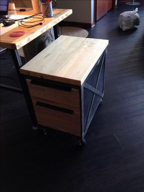Custom Made Reclaimed Industrial Mobile File Cart With Ash Top & Drawers
