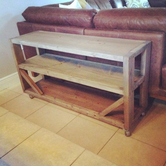 Hand crafted rustic sofa console table with cast iron for Sofa table on wheels