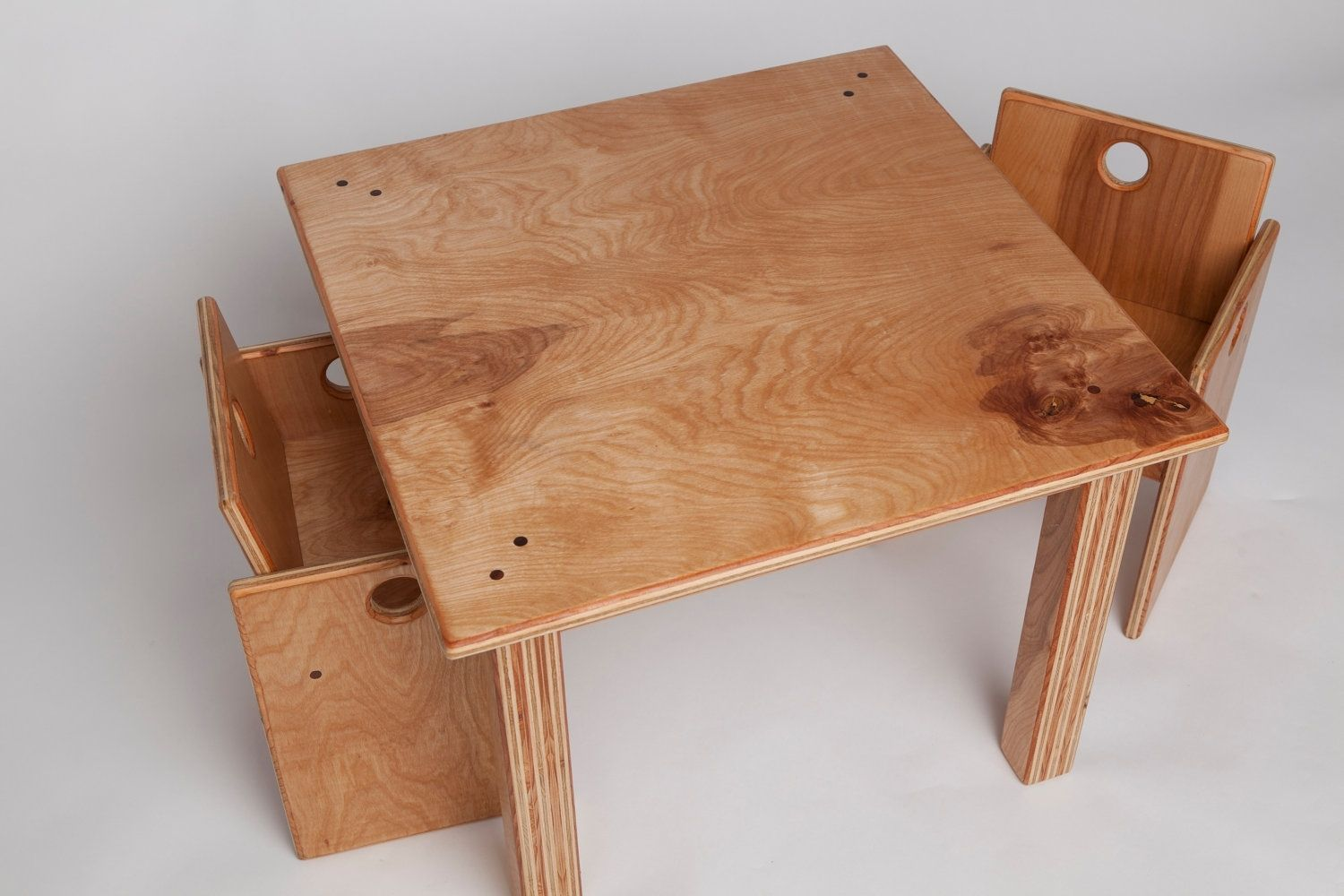 Custom made children 39 s wooden table and chair set by fast for Wooden kids table