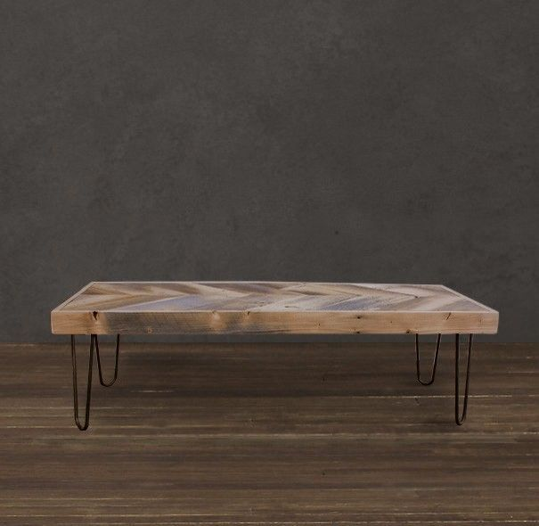 Reclaimed Wood Coffee Table Stainless Steel Legs: Handmade Reclaimed Wood Arrow Coffee Table Set On 13