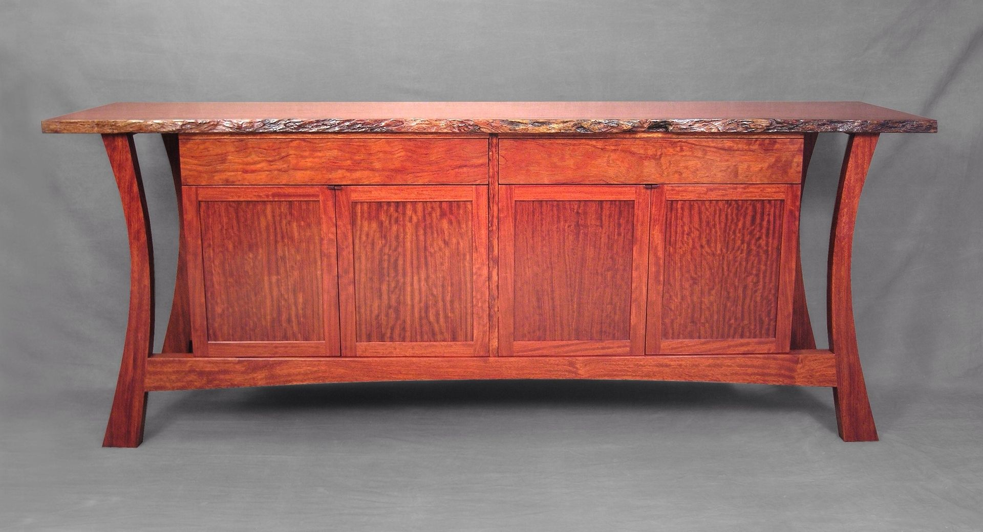 Hand Crafted Live Edge Credenza In Bubinga By John Landis