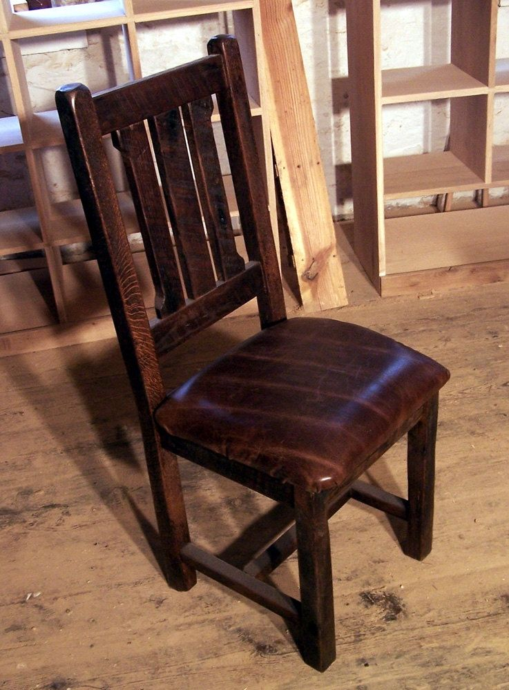 Buy hand crafted reclaimed oak rustic mission dining for Dining chairs with upholstered seats