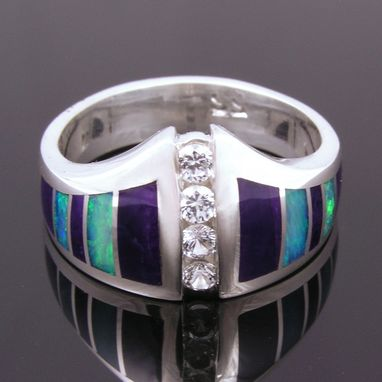 Custom Made Australian Opal, Sugilite And White Sapphire Ring
