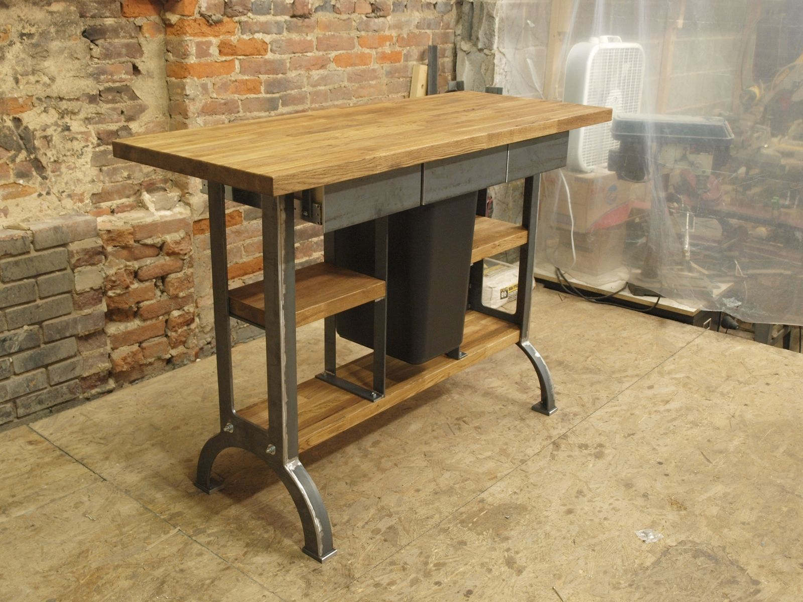 Hand made modern industrial kitchen island console table for Kitchen island table