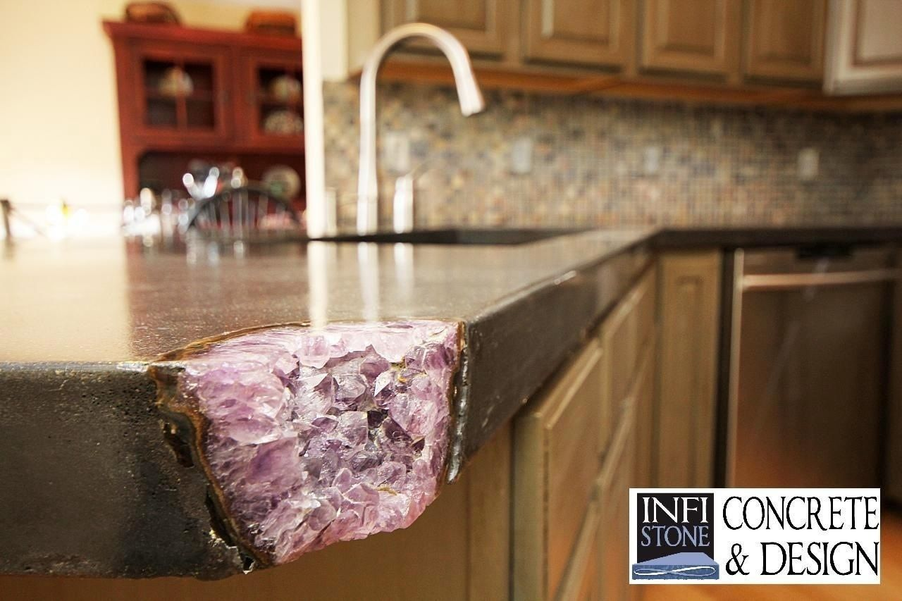 Handmade concrete countertops by infistone concrete for Concrete kitchen countertops reviews