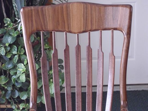 Custom Made Walnut Rocking Chair With Recurved Legs And Maple Accents
