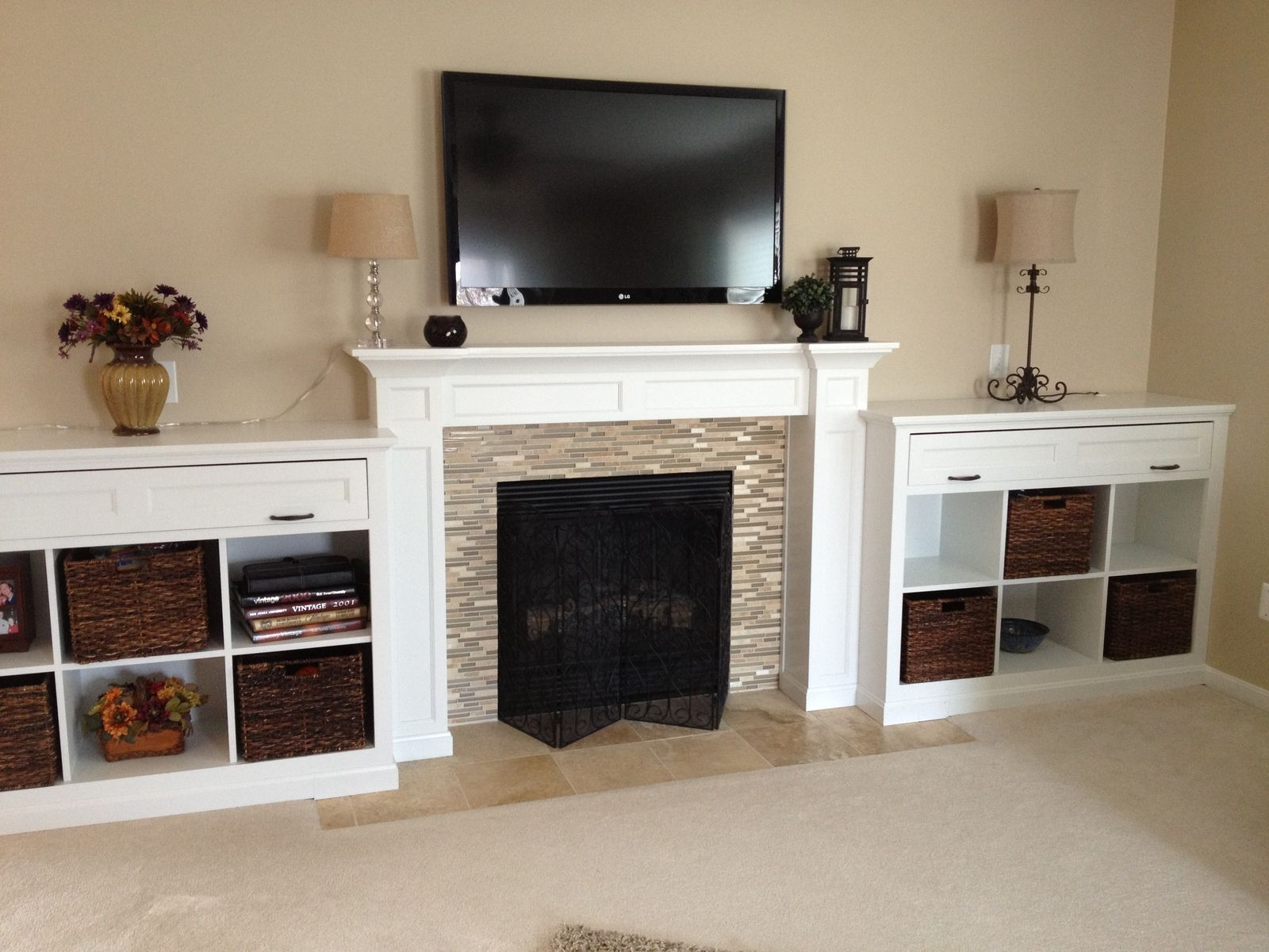 Hand Crafted Mantel And Built In Bookcases By Haas