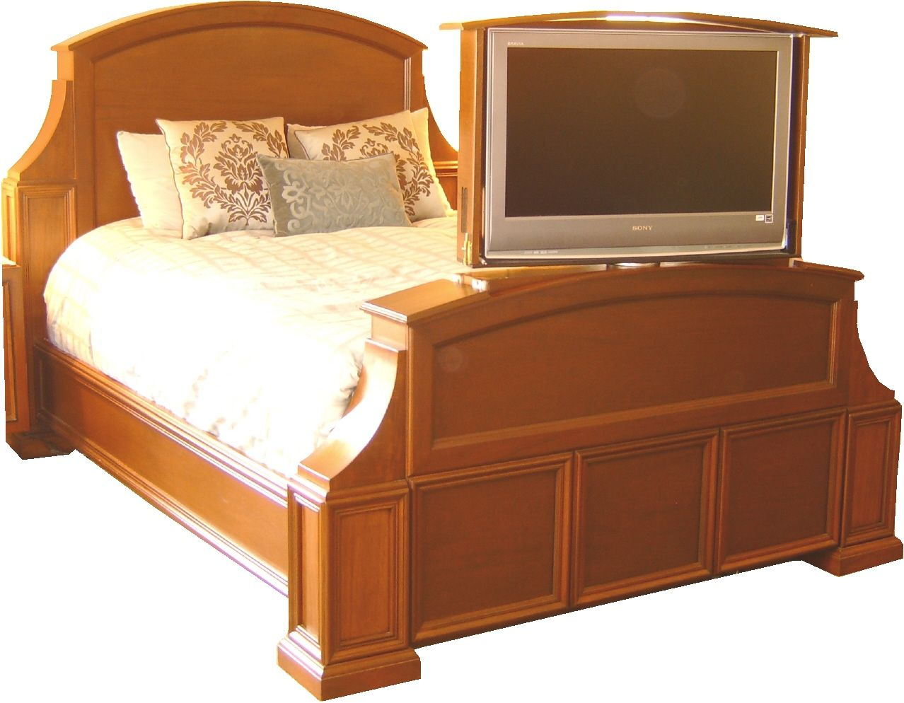 bed with tv lift handmade mahogany bed with tv lift and swivel by jeffrey. Black Bedroom Furniture Sets. Home Design Ideas