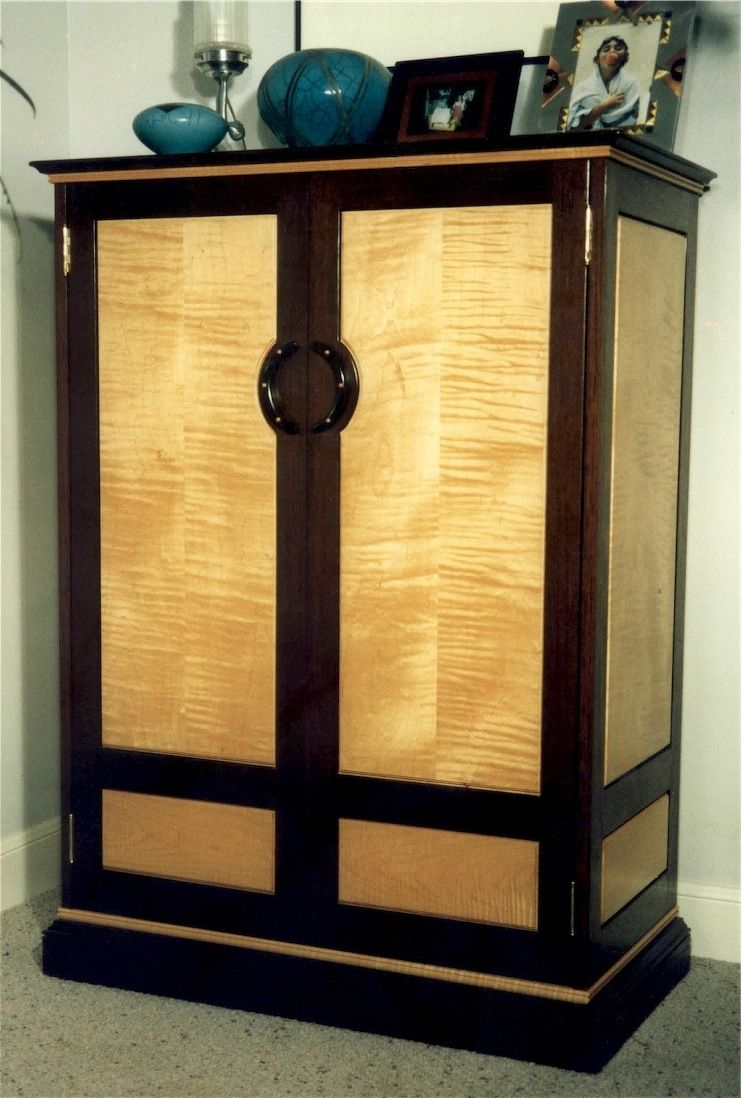 hand crafted wenge figured maple armoire by louis fry
