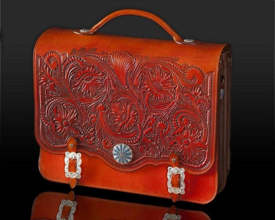 Hand Made Western Briefcase By Clair Kehrberg Fine Leather