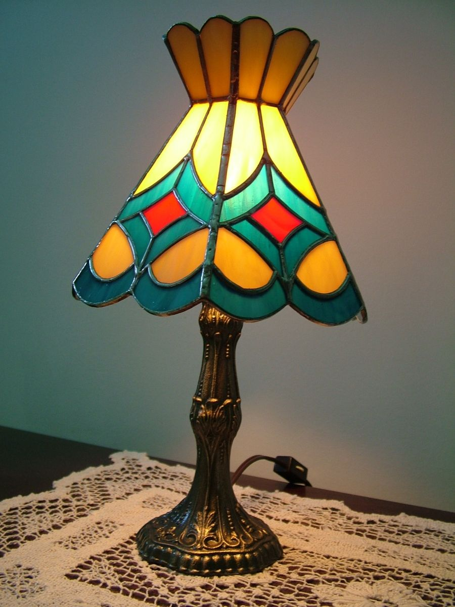 stained glass lamp brass base miniature 12 by stained glass. Black Bedroom Furniture Sets. Home Design Ideas