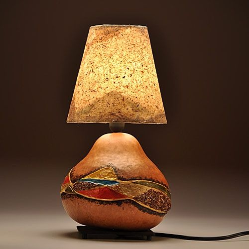 Custom Made Gourd Lamp Country Design By Gourgeous