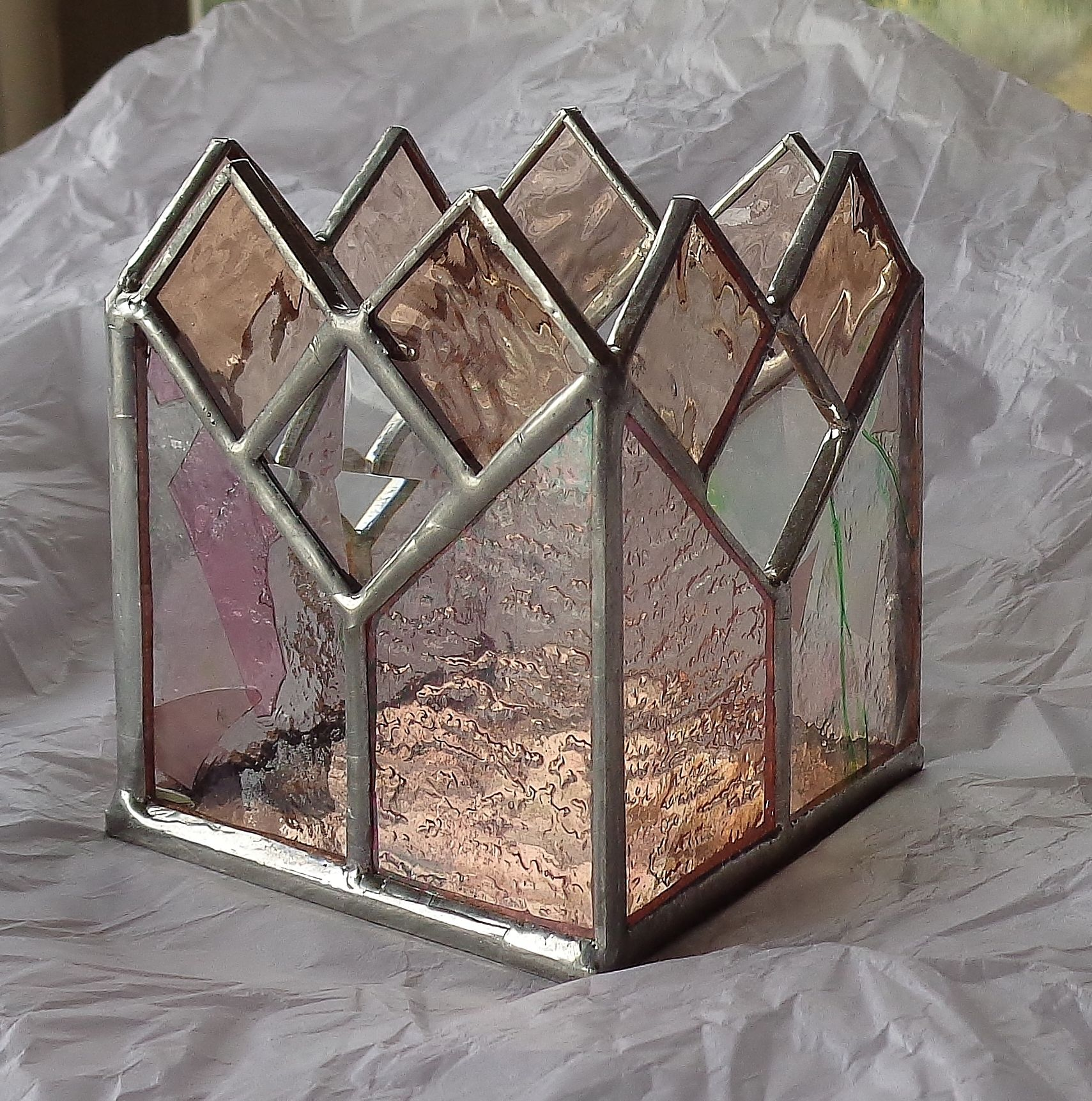 hand made stained glass candle holder by krysia designs