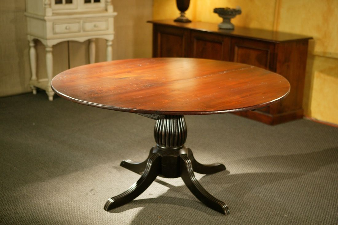 Custom round kitchen tables with black fluted pedestal by ecustomfinishes reclaimed wood - Pedestal kitchen table set ...