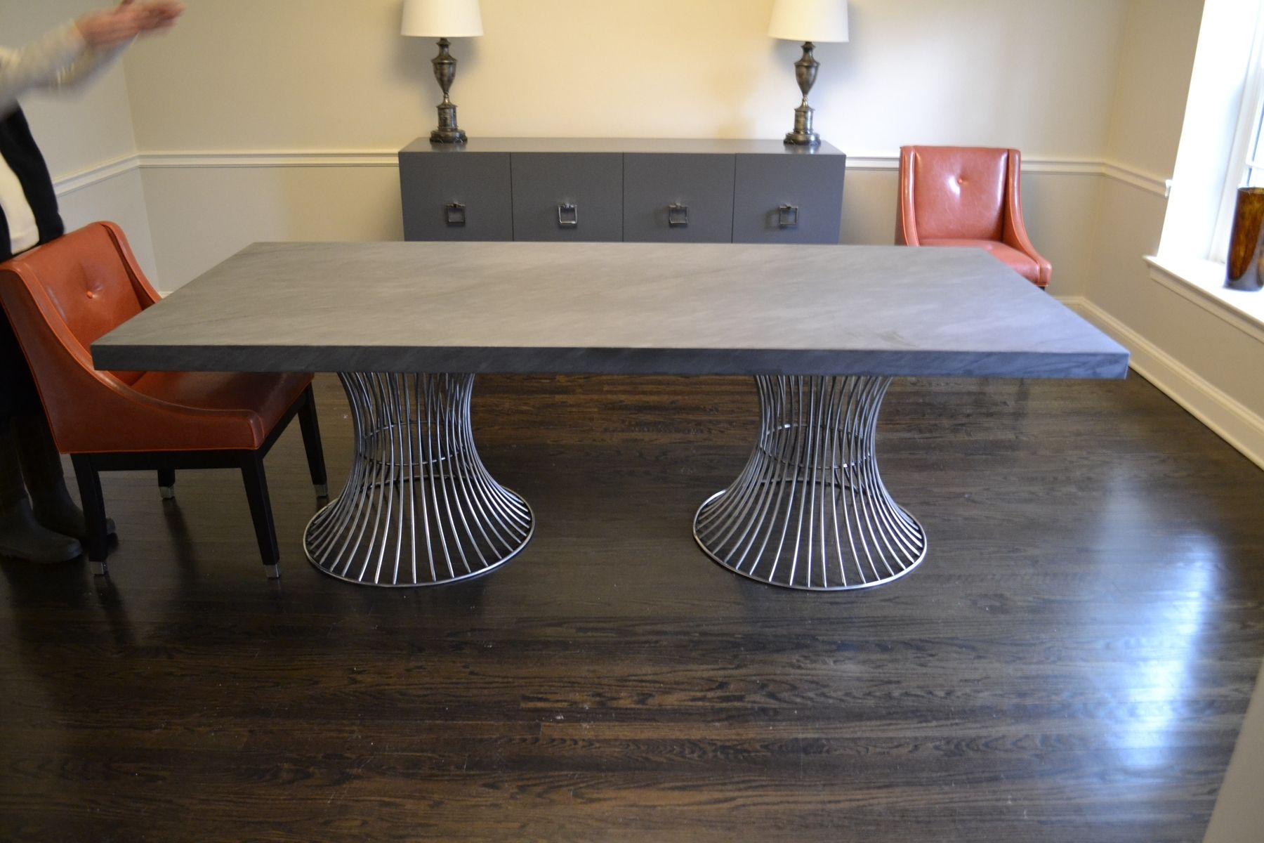 Hand made polished stainless and marble dining table by for Custom made marble dining tables