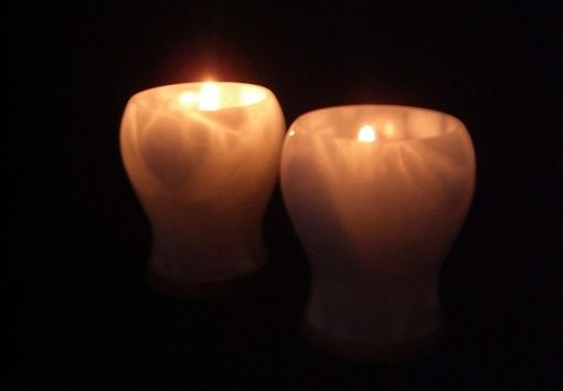 Custom Made White Italian Alabaster Tea Light Candle Holders
