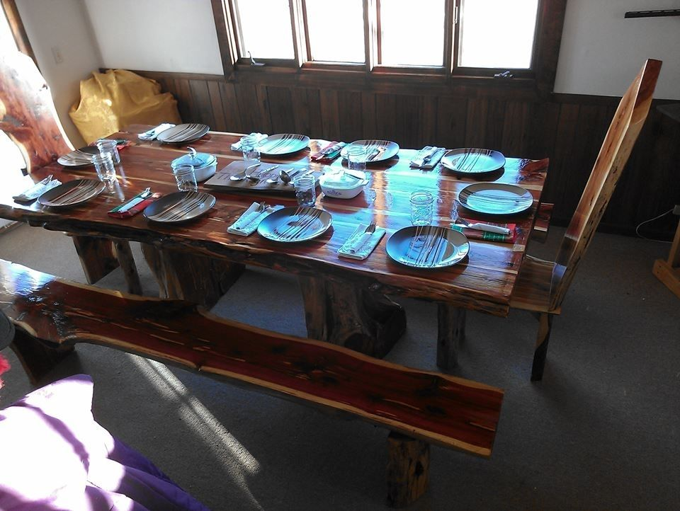 Custom Live Edge Cedar Dining Table Set By Cedar Furniture