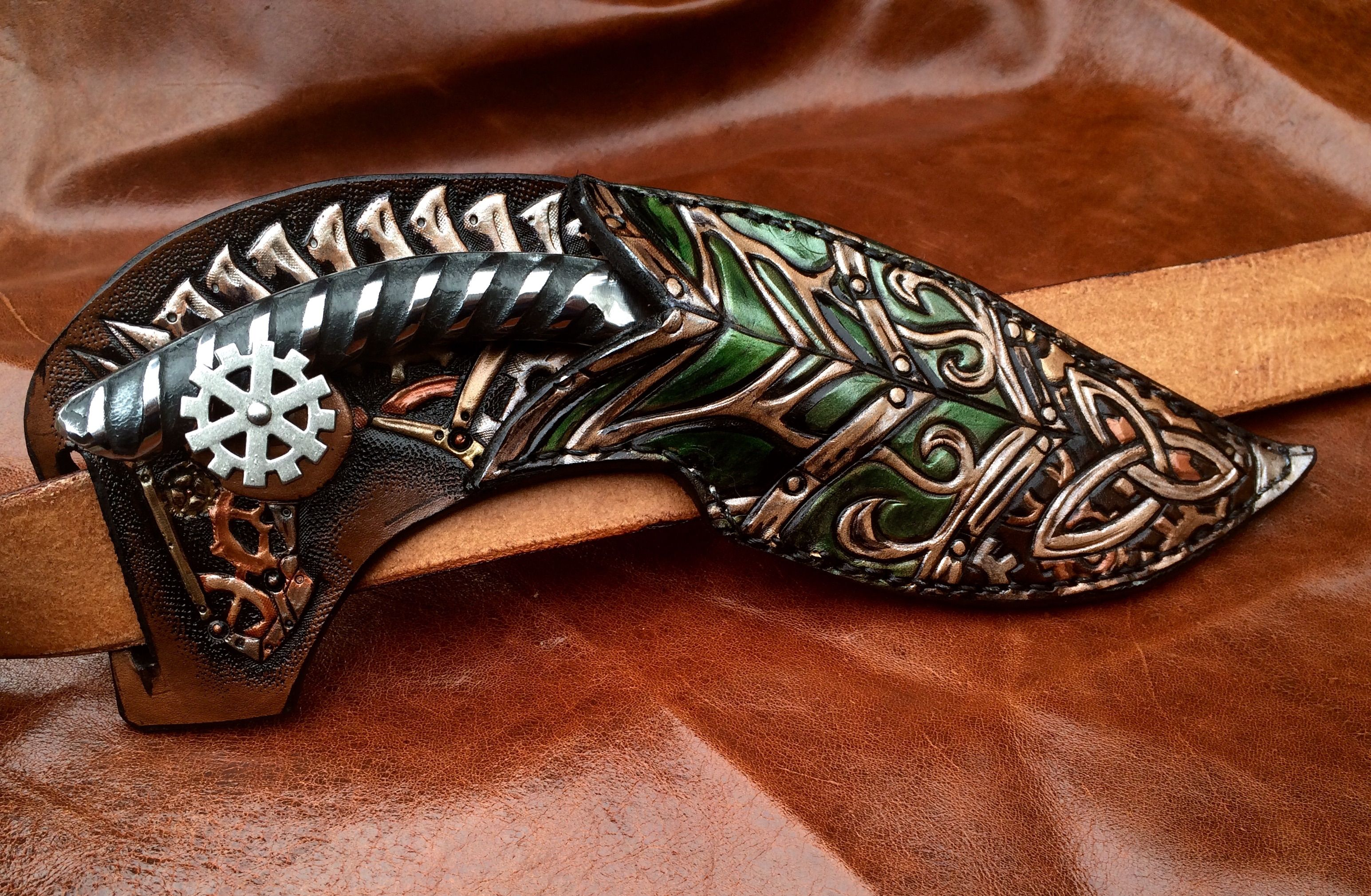 Custom Leather Steampunk Celtic Knife Sheath Horizontal