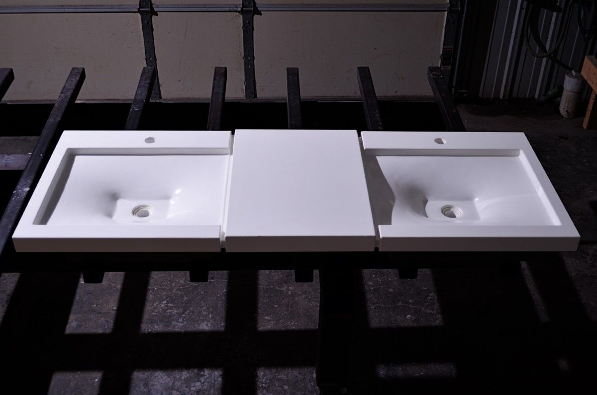 Hand Made Double Sebastopolian Vanity Sink Concrete By Formed Stone Design