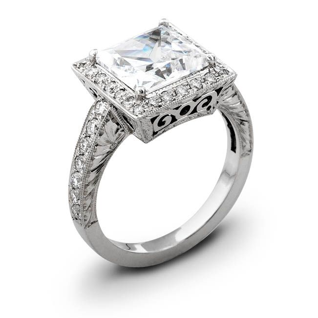 Handmade Antique Princess Cut Halo Pave Engagement Ring By